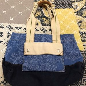 "Fossil tote - 10"" x 13"" stripes 8.5"""
